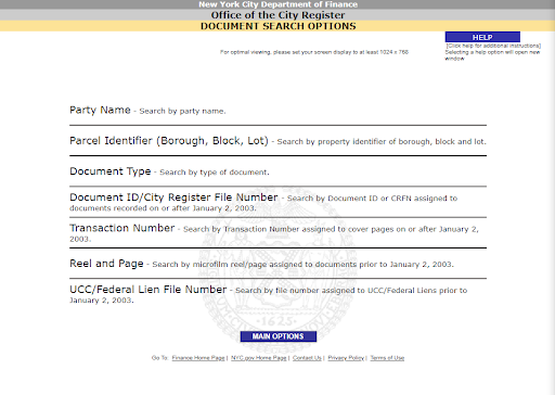 ACRIS NYC Property Records search options