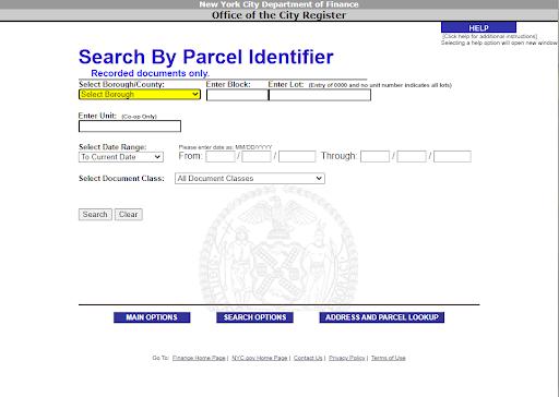 ACRIS NYC parcel identifier search