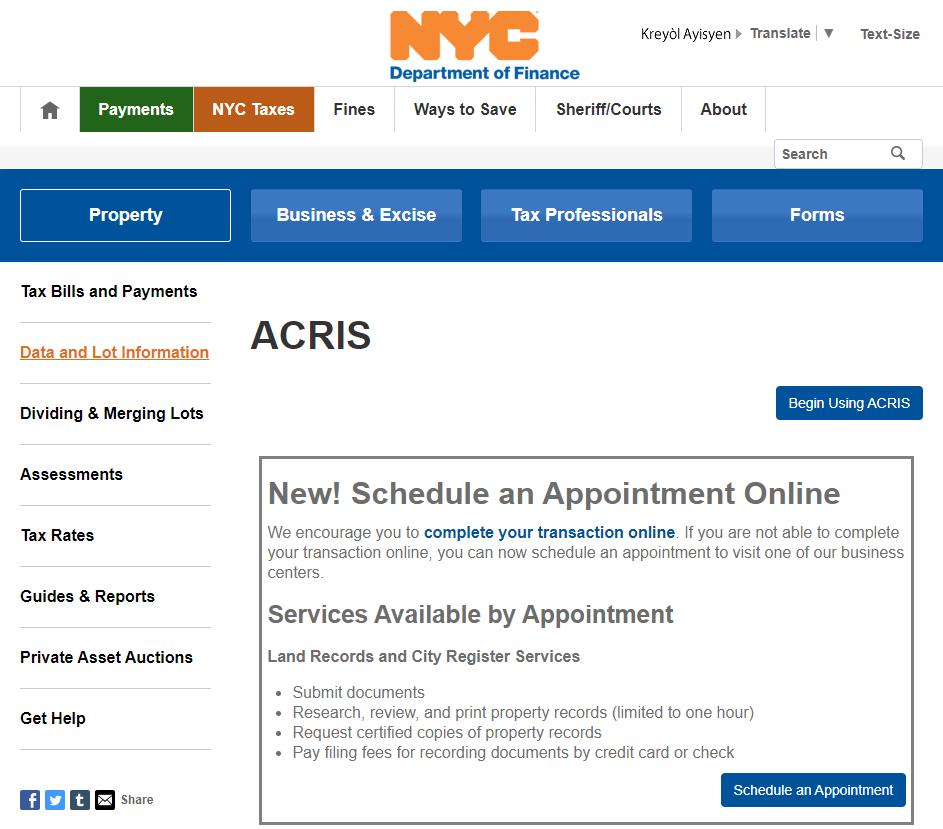 ACRIS NYC property record database
